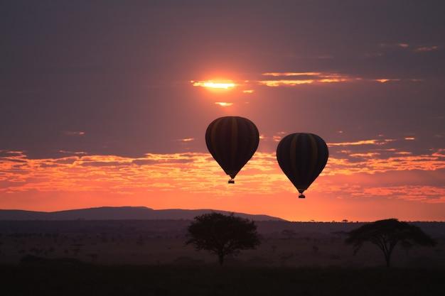 Dageraad in serengeti national park, tanzania, afrika. heteluchtballonnen op de hemel. afrikaans panorama