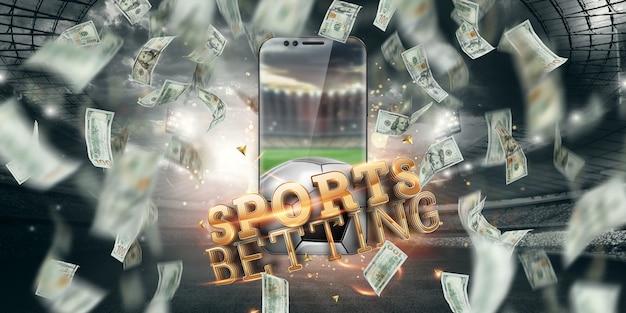 Dalende dollars en smartphone met de inscriptie online sportweddenschappen. creatieve achtergrond, gokken.
