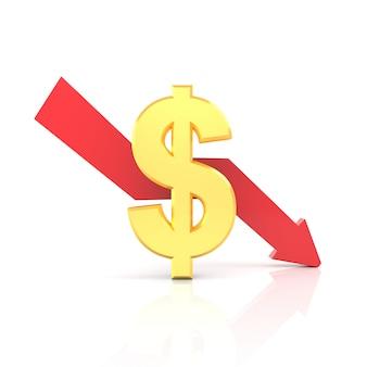 Daling van de dollarkoers. 3d-weergave