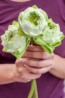 Dame die mooie bloeiende lotusbloem houdt om eerbied aan boedha te betalen