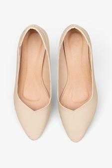 Dames beige schoenen met lage hak mode