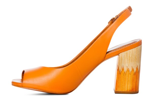 Dames lederen hoge hak mode schoenen met zijaanzicht profiel