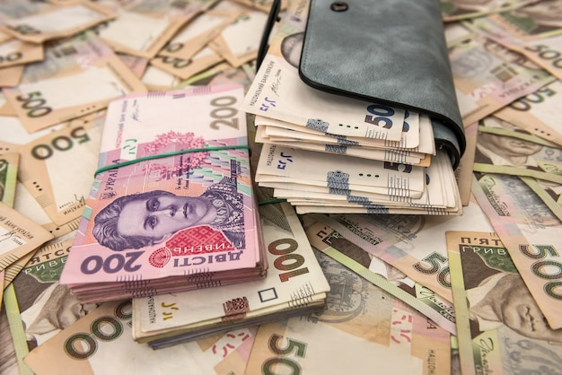 Damesportemonnee geld in contanten oekraïense hryvnia. Premium Foto