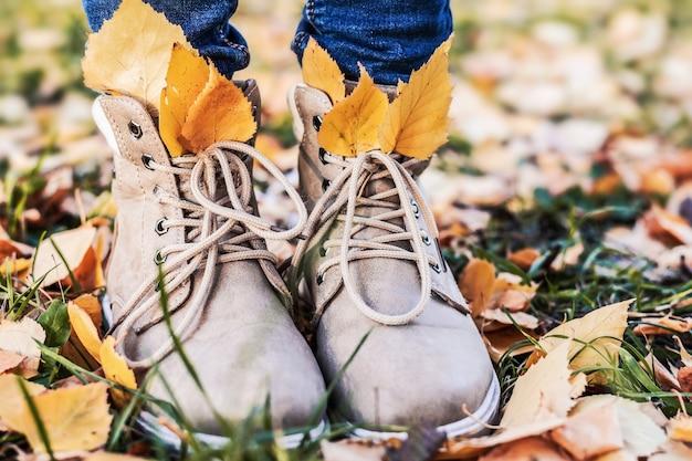 Damesschoenen op kleurrijk gebladerte in het herfstseizoen