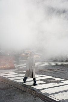 Damp van straat ondergronds in nyc