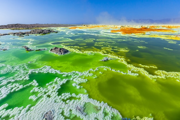 Danakil depressie dallol vulkaan kleurrijk zuur zwavelmeer