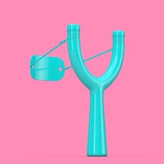 Danger wooden blue slingshot toy weapon in duotone style op een roze achtergrond. 3d-rendering