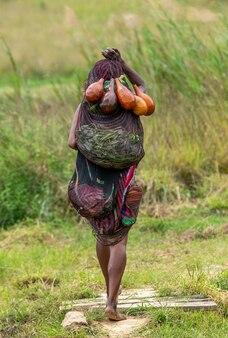 Dani-vrouw keert van de markt terug naar het dorp.