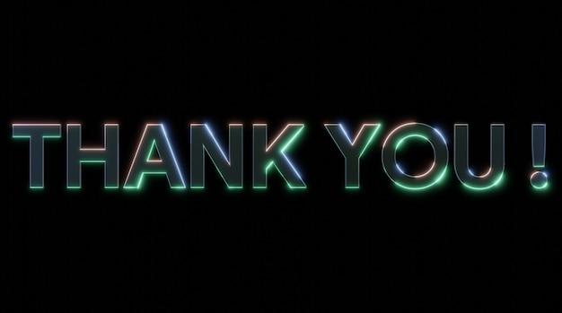 Dank u blauw en groen neoneffectteken met licht en glanzende effecten 3d illustratierendering