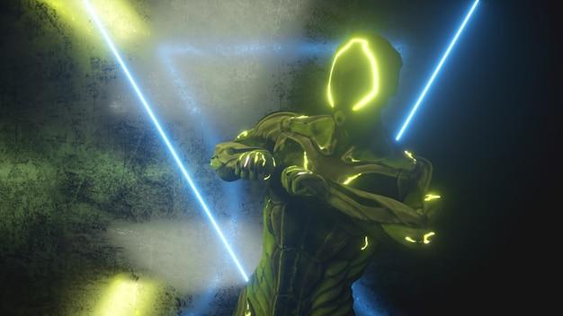 Dansende buitenaardse robot op een metalen achtergrond met felle neonlichten