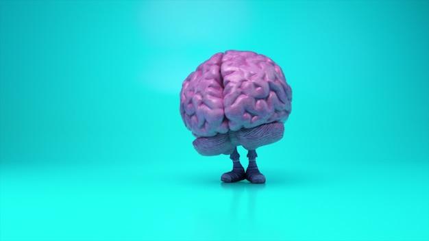 Dansende hersenen op een kleurrijke turquoise achtergrond. kunstmatige intelligentieconcept. 3d-animatie van een naadloze loop