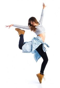 Danser het stellen over witte achtergrond