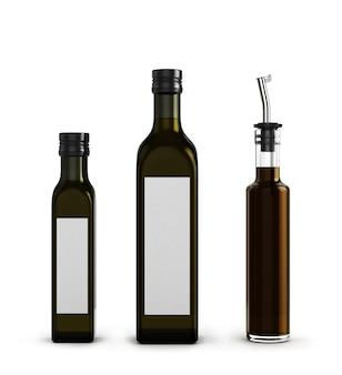 Darck glazen flessen voor olijfolie van verschillende grootte geïsoleerd op een witte achtergrond