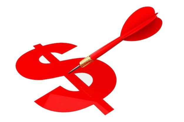 Darten pijl met dollarteken doel op een witte achtergrond