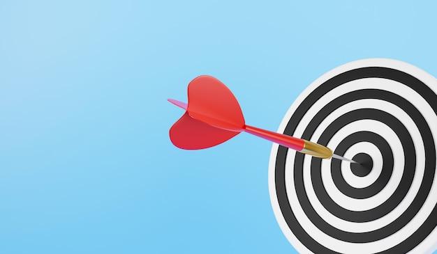 Dartpijl die het bullseye-dartbord in het midden raakt, is het doelwit van doeluitdaging zakelijke 3d-weergave