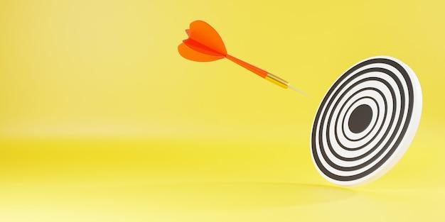 Dartpijl die raakt om te centreren op bullseye-dartbord is het doelwit van doeluitdaging 3d-rendering