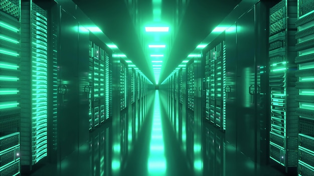 Datacenter met eindeloze servers. netwerk- en informatieservers achter glaspanelen.