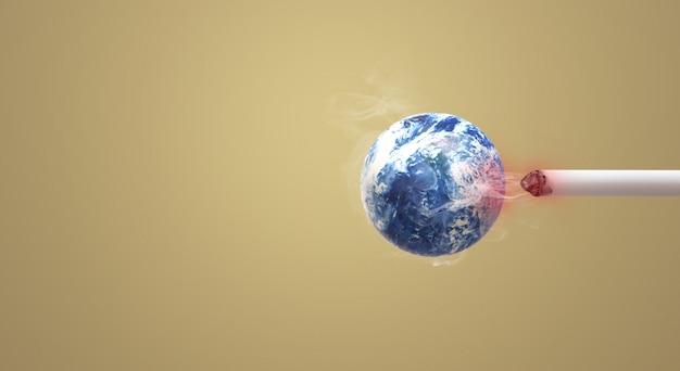 De 3d-rendering wereld geen tabak dag afbeelding achtergrond.