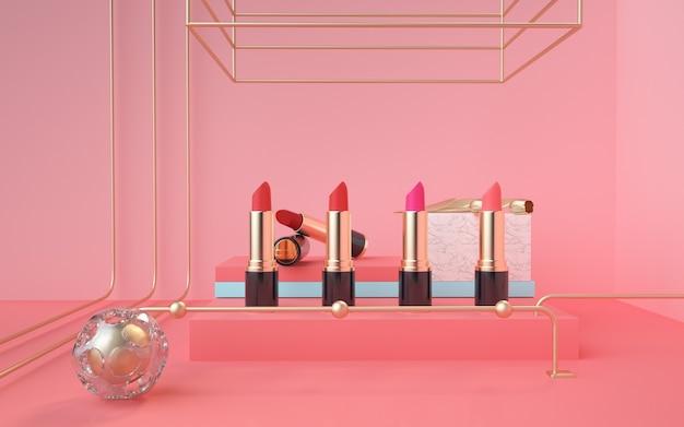 De 3d renderings van het lippenstiftproduct staan op een roze