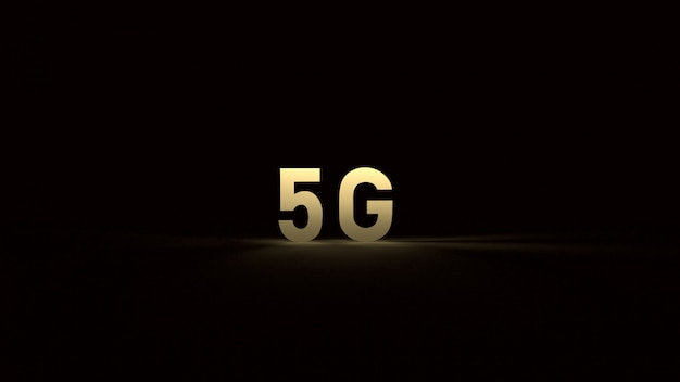 De 5 g goud in het donker 3d-rendering voor technologische inhoud.
