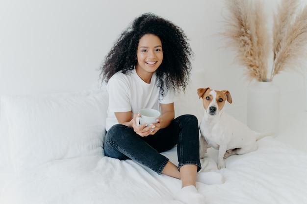 De aantrekkelijke amerikaanse vrouw afro drinkt aromatische hete drank van witte mok stelt op bed samen met de terriërhond van hefboomrussell