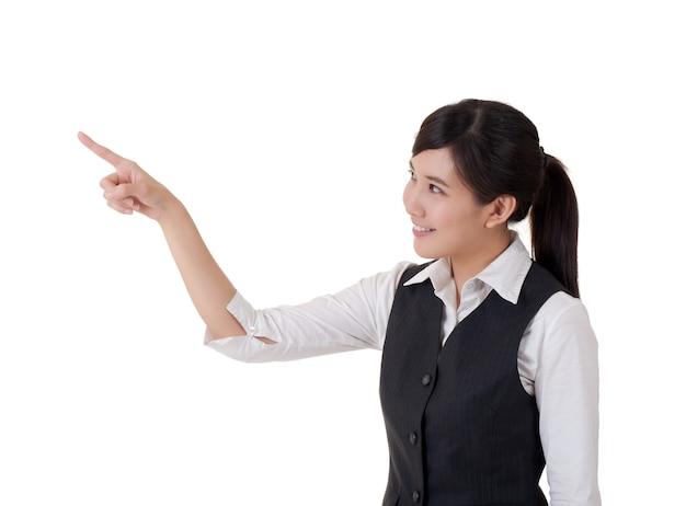 De aantrekkelijke bedrijfsvrouw introduceert met hand, close-upportret.