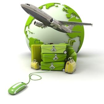De aarde, een opstijgend vliegtuig, een stapel koffers verbonden met een computermuis in groene en gele tinten