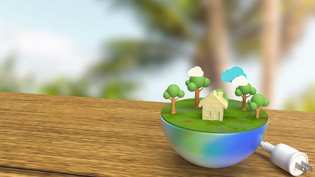 De aarde en de elektrische stekker voor 3d-rendering van het milieu- of egosysteemconcept