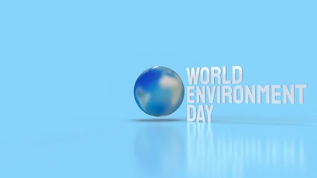 De aarde en het witte woord voor het concept van de wereldmilieudag het 3d teruggeven