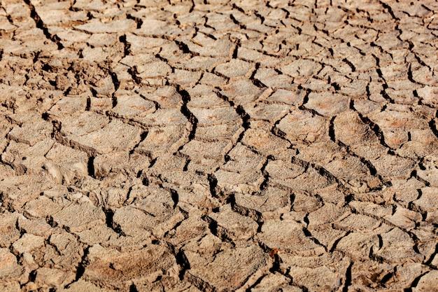 De aarde is gebarsten door droogte