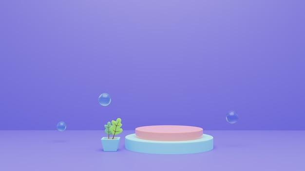 De abstracte 3d teruggevende achtergrond van het podiumstadium met bellen. premium foto.