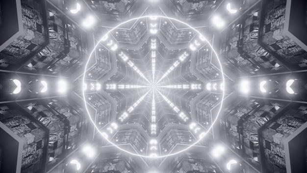 De abstracte 4k uhd 3d teruggevende achtergrond van de illustratie futuristische architectuur van geometrisch gevormd tunnelperspectief met gloeiende lichten die symmetrisch patroon vormen