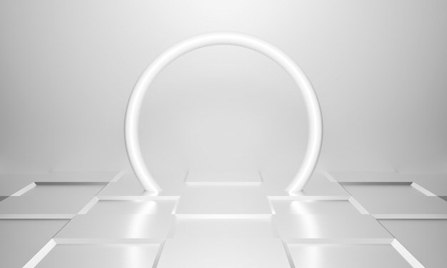 De abstracte achtergrond van de witte lichte tunnelarchitectuur uiteindelijk.