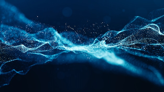 De abstracte blauwe golf van kleuren digitale deeltjes met bokeh en licht