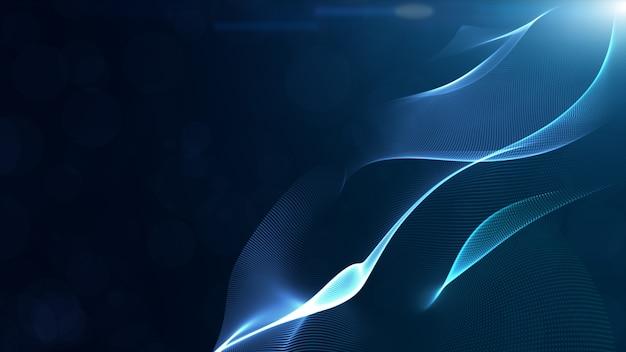 De abstracte blauwe golf van kleuren digitale deeltjes met bokeh en lichte achtergrond