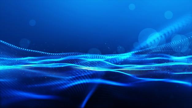 De abstracte blauwe golf van kleuren digitale deeltjes met bokehachtergrond
