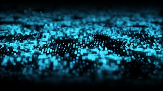 De abstracte blauwe golf van kleuren digitale deeltjes met stof en aantallenachtergrond Premium Foto