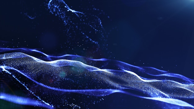 De abstracte blauwe golf van kleuren digitale deeltjes met stof en lichte achtergrond