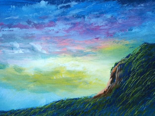 De abstracte blauwe hemel van de olieverfschilderijberg met wolk.