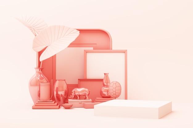 De abstracte geometrische scène van de vormpastelkleur roze kleur minimaal met decoratie en steun, ontwerp voor 3d schoonheidsmiddel of productvertoningpodium geeft terug