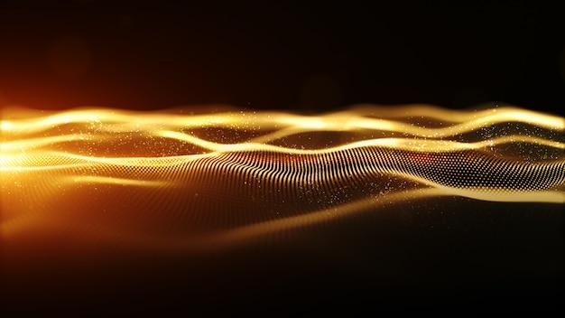 De abstracte golf van golf digitale deeltjes golf met bokeh en lichte achtergrond