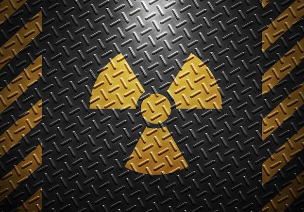 De abstracte grijze textuur van het metaalblad met gele voorzichtigheidsband en stralingswaarschuwingsbord