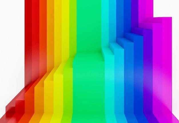 De abstracte kleurrijke 3d achtergrond van het regenboogperspectief