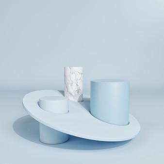 De abstracte minimale scène met een geometrische vorm voor productpresentatie, blauwe achtergrond, 3d render, 3d illustratie