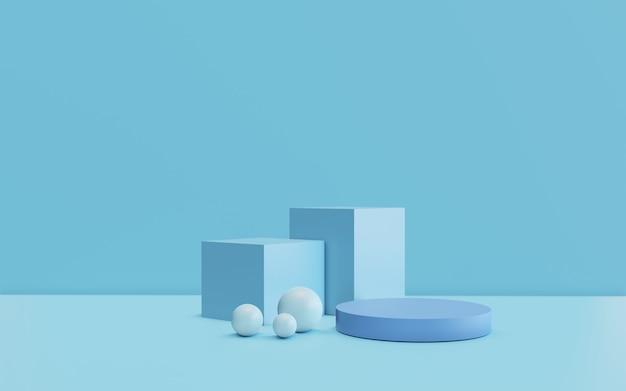 De abstracte minimale scène met geometrische vormen. blauwe hemelachtergrond. productpresentatie, mock-up, display voor cosmetische producten, podium, podiumvoetstuk of platform. 3d-rendering