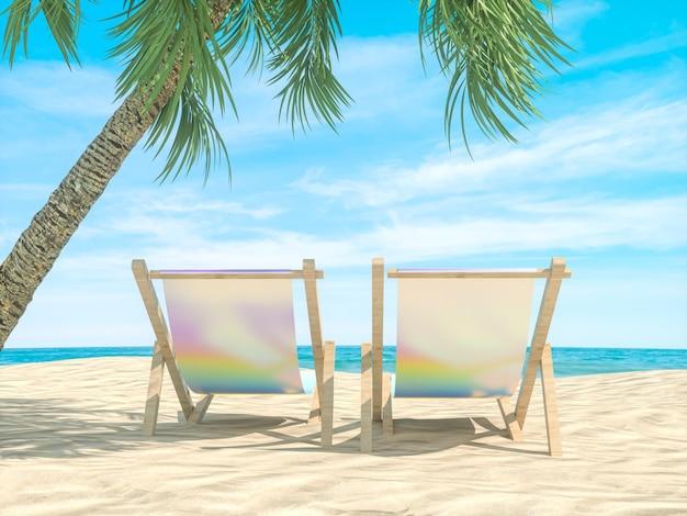 De abstracte scène van het de zomerstrand met strandstoelenachtergrond