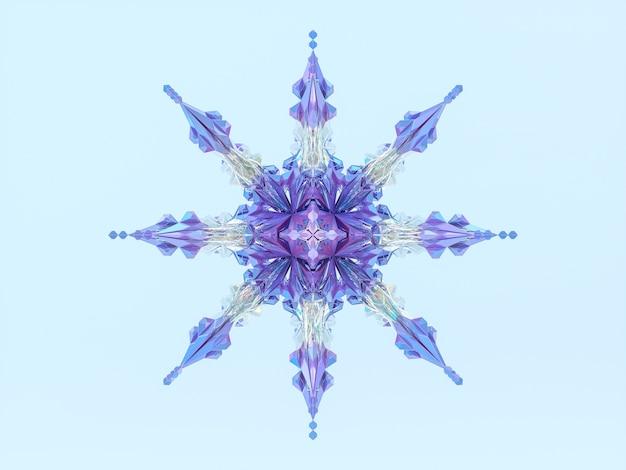 De abstracte sneeuwvlok van kerstmis van de winter. 3d mandala.