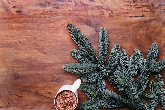 De achtergrond van de winter met cacao en dennentakken