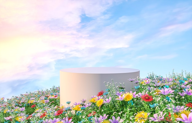 De achtergrond van het natuurlijke schoonheidspodium met het 3d teruggeven van de het gebiedsscène van de lentebloem