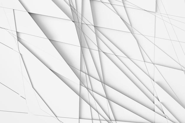 De achtergrond van het oppervlak wordt berekend door rechte lijnen op verschillende geometrische vormen op verschillende hoogtes en werpen schaduwen op elkaar. 3d illustratie